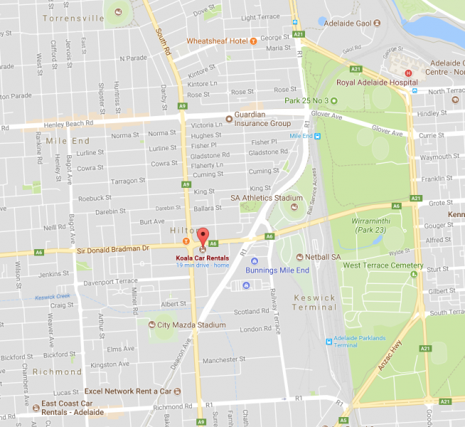 map of koala car rental location